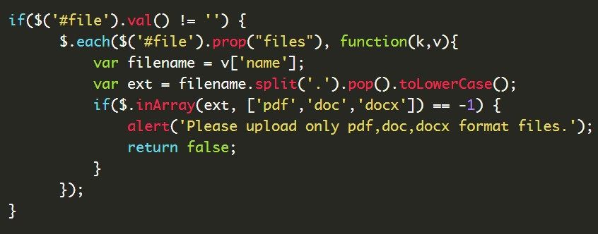 Allow only pdf,doc,docx files for uploading with Jquery ?